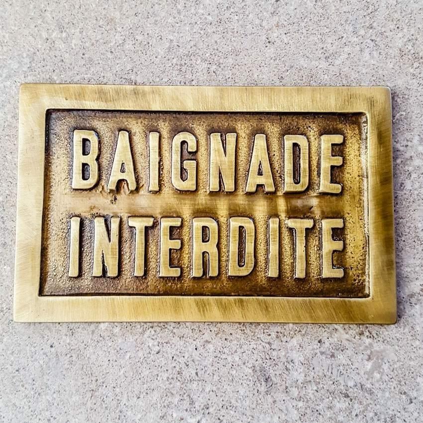 """PLAQUE EN LAITON """"BAIGNADE..."""